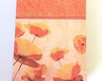 Orange Poppy Blank Leather Journal