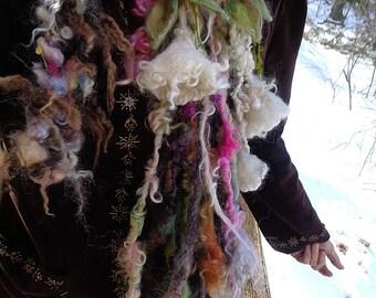 ON HOLD - soft artyarn garland lariat fantasy scarf  -  angel trumpet blooms