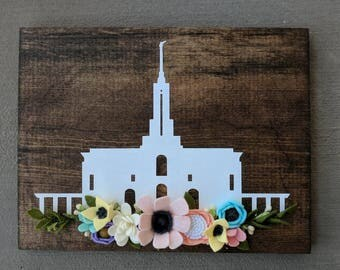 Sale!! Mount Timpanogos sign with felt flowers. Ready to ship!