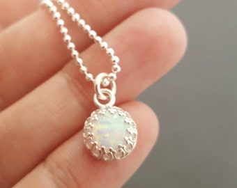 Opal Necklace tiny 8 mm man-made opal pendant jewellery gift for mum sterling silver necklace october birthstone jewelry