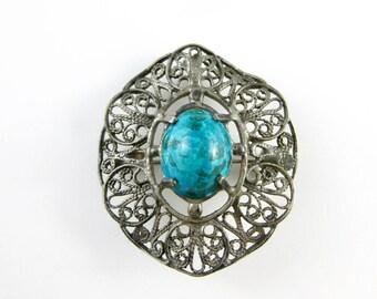 Vintage Green Eilat Stone Oval Sterling Silver Brooch Pin