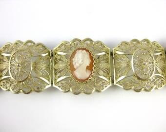 Vintage Vermeil Filigree Cameo Sterling Silver Bracelet
