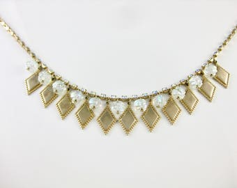 Vintage Aroura Borialous Rhinestone & Golden Diamond Shape Necklace