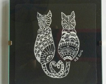 Zentangle Cat Love original drawing with frame