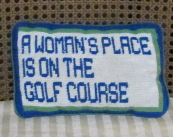 Vintage Needlepoint Pillow Womens Golf Tapestry Womans Place Gag Gift Sports Golfer Teal Turquoise Completed Finished Form