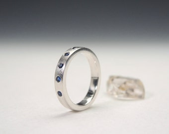 Sterling Silver Band with Blue Sapphires, Sapphire Stacking Ring