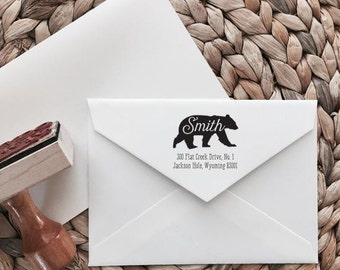 Custom Return Address Stamp | Bear Style | Wood with Handle or Self Inking