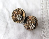 Antique Cut Steel Buttons with Raised Floral Motif Pair Set/2 Bronze Tone Metal 14mm