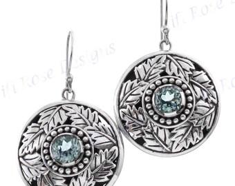 "7/8"" Stunning Blue Topaz 925 Sterling Silver Earrings"