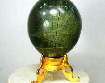 Green Stone Easter Egg, 1980s, Comes with Gold Metal Vintage Stand, Jasper or Marble