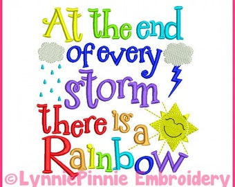 Rainbow Storm Word Art Embroidery Design 4x4 5x7 6x10 Machine Embroidery