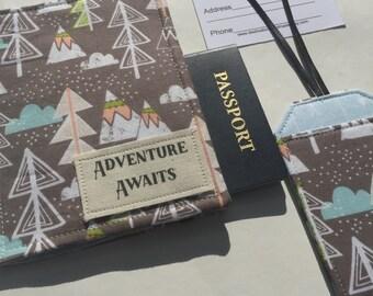 """Passport Cover, """"Adventure Awaits"""" Passport Holder,  passport case, luggage tag, Vegan Passport Wallet Travel Set Gift under 25"""