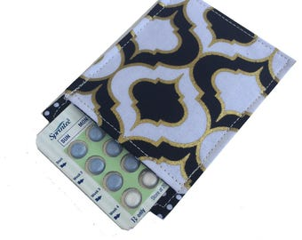 Birth Control Pill Case Black and Gold Metallic with Polka Dot Lining, Your Lady Pills Need a Case