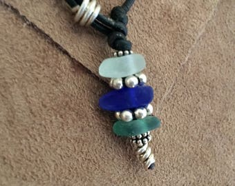 Leather and Seaglass Lariat Necklace
