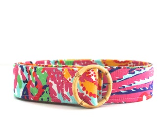 Women's Fabric Belt | Lilly Pulitzer Lovers Coral Fabric (Pinks & Brights)
