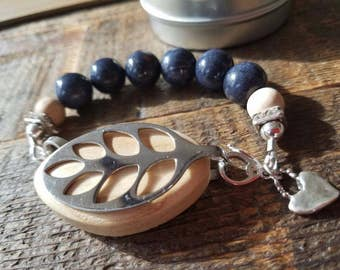 Bellabeat leaf health tracker accessory natural navy blue stone bracelet with sterling silver and sandal wood