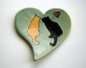 Orange and Black Cat - Heart Dish - Tea Bag Holder - Spoon Rest - Painted Cats Plate_Home Decor