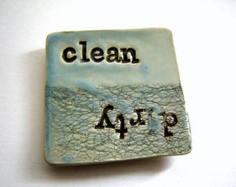 Clean Dirty dishwasher magnet – handmade ceramics – turquoise pottery – housewarming gift – home décor – kitchen decor