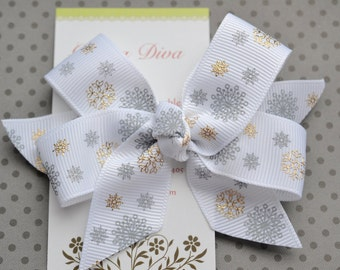 Gold and Silver Snowflakes Classic Diva Bow
