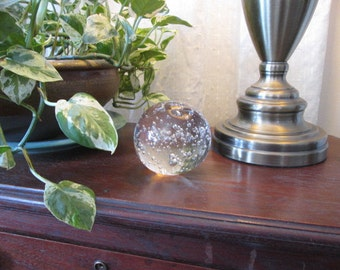 """Glass Paperweight - Clear Controlled Bubble - 3"""" in Diameter"""