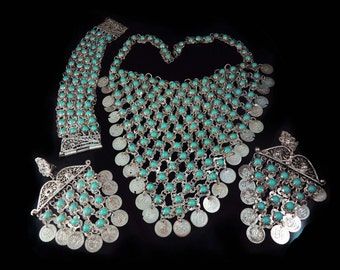 Gypsy necklace bracelet earrings turquoise parure Goddess necklace Bib necklace antique necklace statement necklace chainmail necklace bib