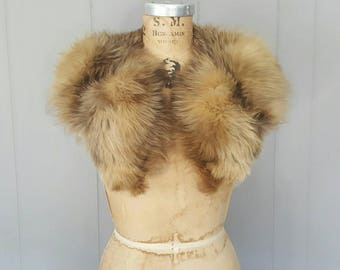 Brown Multicolor Fox Fur Collar / large