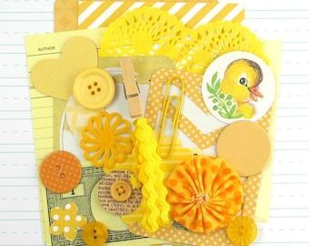 YELLOW Themed Inspiration Kit, 25pcs, Yellow Junk Journal Kit, Handmade Embellishments for Smash Books, DIY Journal, Yellow Scrapbook Kit