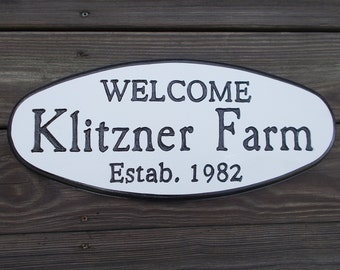 Oval Name and Address signs, Family Name signs - Hand Routed and Carved Signs of Distinction.