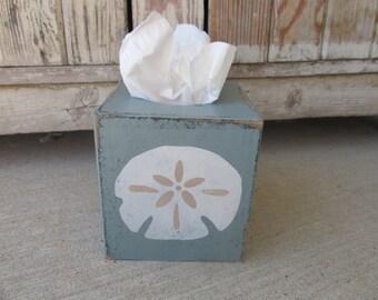 Nautical Beach Coastal Sand Dollar Hand Painted Tissue Box Cover GCC6295