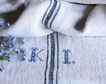 EP 206: antique handloomed INDIGO BLUE ; monogramm, grainsack pillow cushion runner 44.09long wedding, french lin,spring, vintage