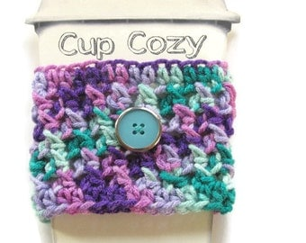 Ready To Ship - Crocheted Teal & Plum Coffee Cup Cozy - Crocheted Purple Variegated Cup Sleeve - Crocheted Cup Warmer With Button