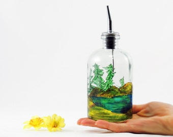 Hand painted glass dispenser for oil, vinegar, soap or detergent - Pine trees landscape
