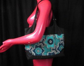 Wax Block Print Handbag - Bright color Block Tote Bag - African Fabric Shoulder Bag - Aqua Black and Blue  Wax Block Print Fabric Purse