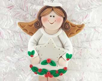 Personalized Polymer Clay Angel Christmas Ornament - Baby's First Angel Christmas Ornament - Personalized Angel Christmas Ornament - 11710