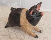 black and tan running pig, piggie piglet in stoneware