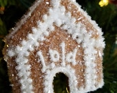 RESERVED for Tara//Gingerbread Dog House Christmas 3-D Keepsake Ornament /Tree and Garland Decoration