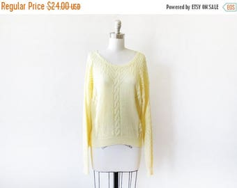 50% OFF SALE yellow sweater, vintage yellow pointelle sweater, large 80s slouchy sweater