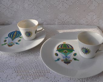 Pair of Fancy Free Plate and Cup Sets By Georges Briard/Vintage 1960s/Hot Air Balloon Novelty China/Breakfast, Snack, or Dessert Sets