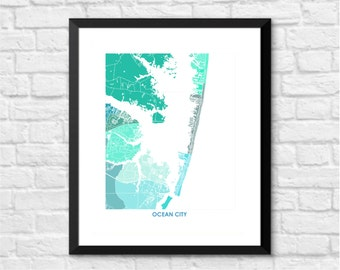 Ocean City Map Print.  Pick the Colors and Size.  Fun Maryland Artwork.