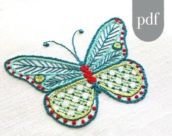 Embroidery Pattern Kit, Butterfly Embroidery Kit, pdf, Crewel Embroidery Kit, Cairns Birdwing Butterfly, digital pattern kit, Prairie Garden