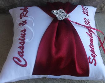Wedding Ring Bearer Pillow, Personalized, Monogrammed, Custom Wedding Decor, Design Your Own, Diamond Deco Rhinestone, Apple Red Wedding