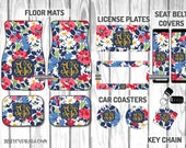 Cottage Flowers Inspired by Vera Bradley Car Mat /Plate & Frame / Seat belt cover / Key Chain / Car Coaster / Car Accessory Gift  Set