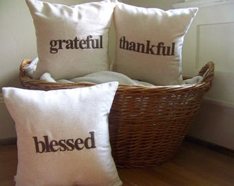 grateful thankful blessed pillow set - thanksgiving decoration - thanksgiving pillows - set of 3 - fall home decor - brown - embroidered