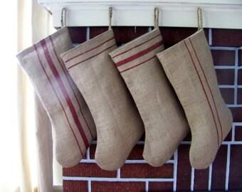 set of 4 burlap stockings - grain sack - stripe - rustic - farm - christmas decoration - jennifer helene home - christmas stockings
