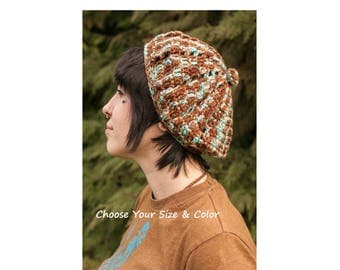 French Style Beret, Pyramid Pattern, Made to Order, Custom