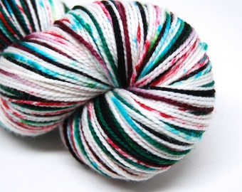 """DYED TO ORDER - Acoustic Sock Yarn - """"Twisted Peppermint"""" - Handpainted Superwash Merino - 400 Yards"""