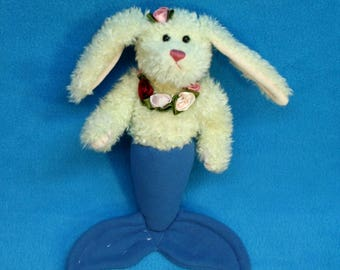 White and Purple Mer-Bunny from recycled plush with ribbon roses