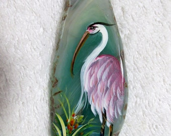 Hand Painted Crane Flamingo Pendant Bead Agate Slice Necklace Making Pink Green Bird Nature Sterling Silver