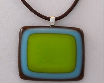 Handmade Necklace with Modern Glass Pendant Green and Turquoise