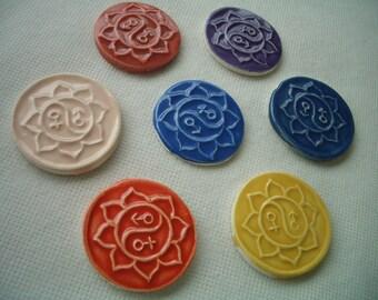 YY - YIN-YANG Coins - 7 pc Lotus, Yin-Yang Stamped Tiles - Ceramic Mosaic Tiles